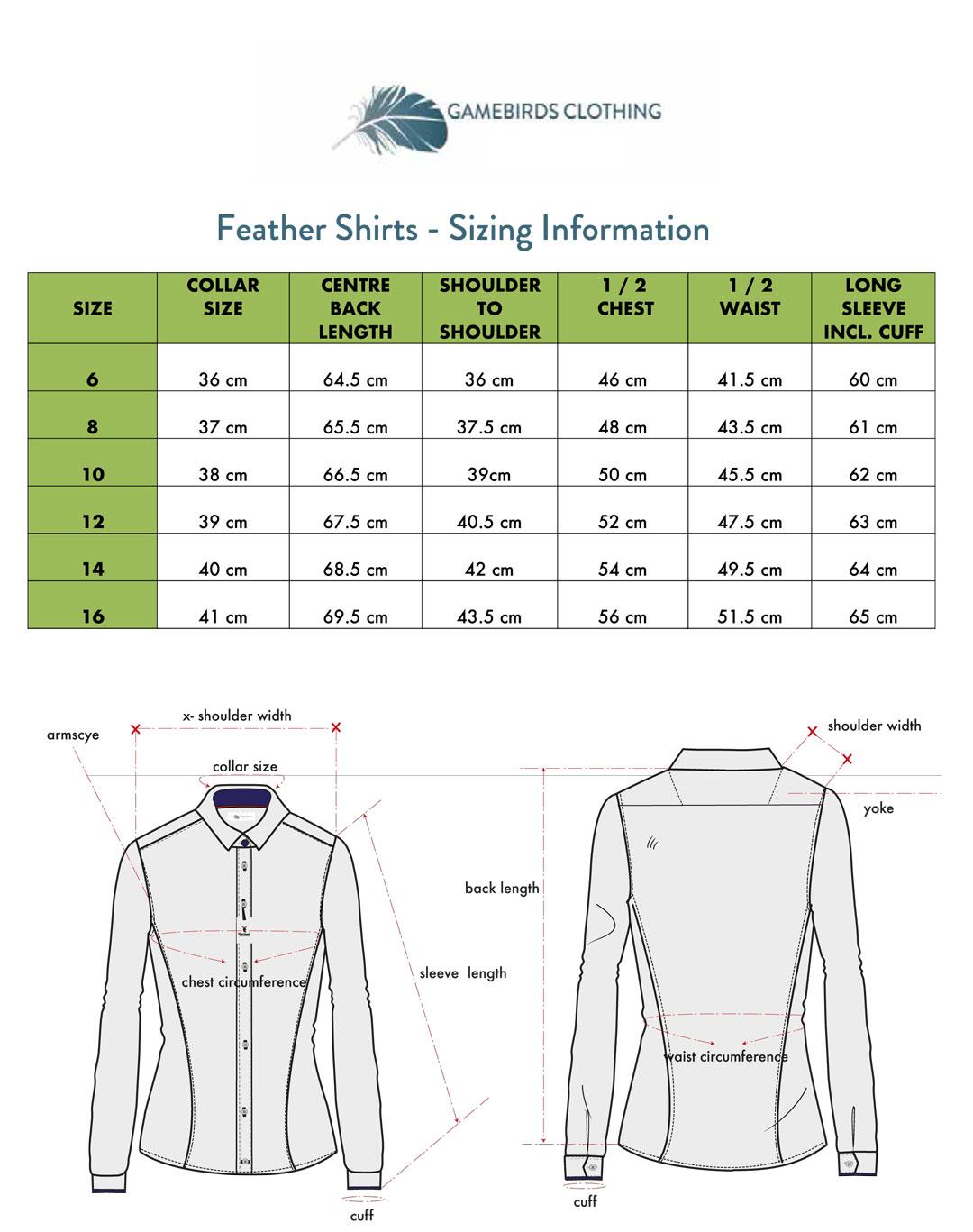 Feather Print Shirt Sizing