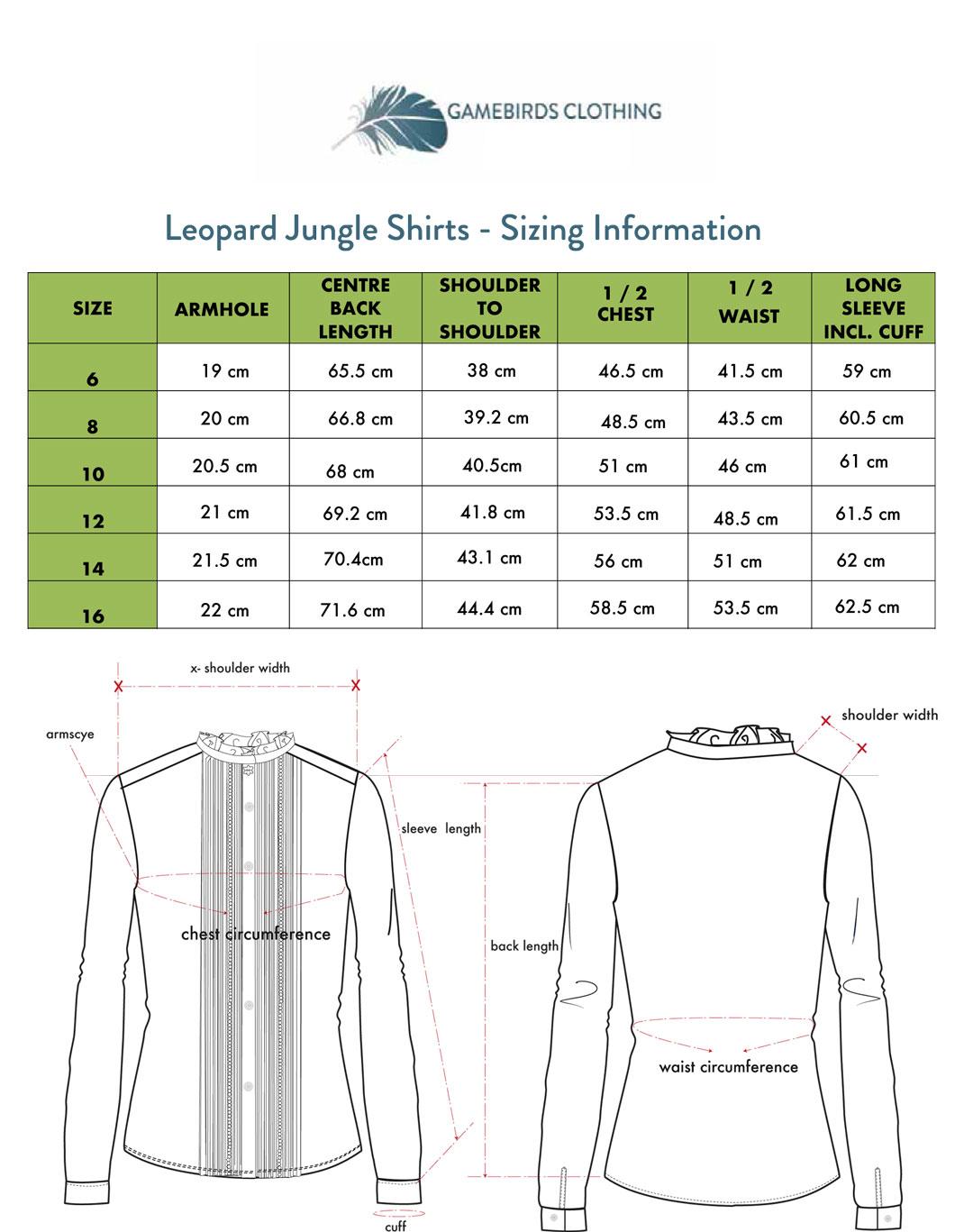 Leopard Jungle Print Shirt Sizing