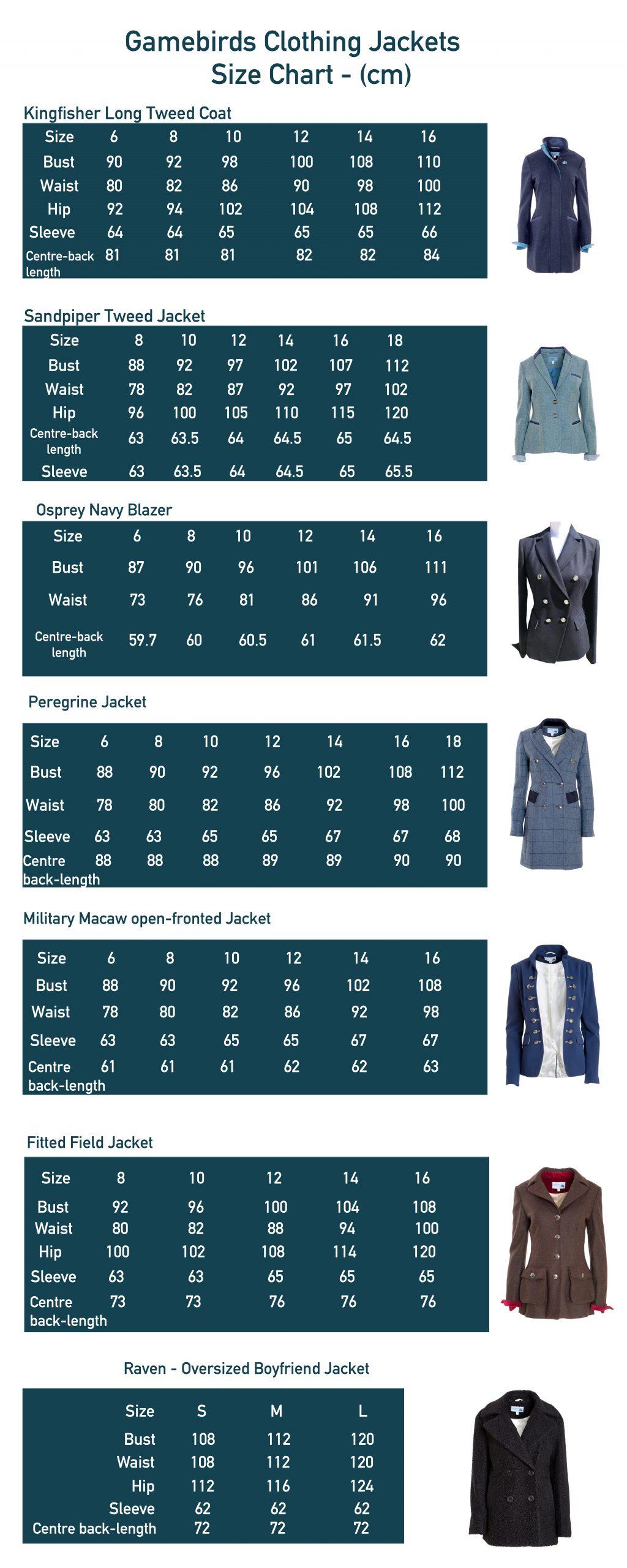 Gamebirds Clothing Size Chart